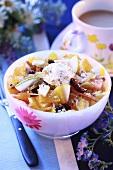 Fruit salad with cream