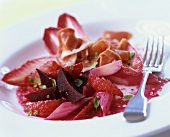 Beetroot, rhubarb and Parma ham salad