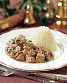 Quick turkey goulash with timbale of rice