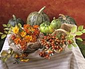 Autumn still life (pumpkins, rose hips, flowers)