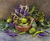Still life with vegetables and flowers