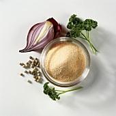 Still life (parsley, onion powder, pepper, red onion)