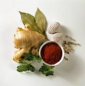 Ground paprika, ginger root and spices