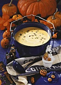 Pumpkin soup with Halloween decorations