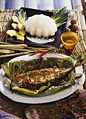 Mackerel in banana leaf with sago and coconut pudding