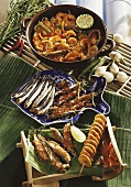 Sour noodle & fish stew &fried anchovies with banana kebab