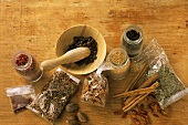 Assorted spices, mortar and pestle