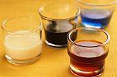 An assortment of coloured liqueurs