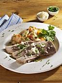 Tellerfleisch (boiled beef) with 'sour' potato casserole