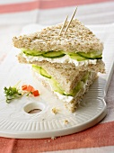 Wholemeal toast with soft cheese and cucumber
