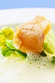 A piece of salmon trout fillet with vegetables & frothy sauce