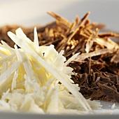 Grated white and dark chocolate