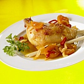 Chicken leg with apricot sauce