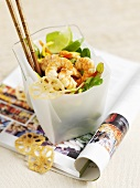 Shrimp salad with limes and lotus root crisps