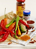 Assorted chili peppers and chili seasonings
