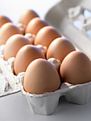 Ten brown eggs in open egg box (close-up)