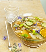 Summer punch (orange, cucumber, apple, borage flowers)
