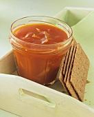 Carrot and lemon jam, beside Finn Crisp crispbread