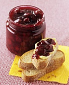 Morello cherry jam on slice of white bread