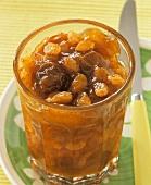 Mirabelle and raisin jam with rum in jar