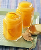 Orange jelly in jars