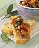 Spicy Mediterranean chutney on slice of white bread