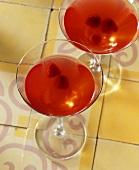 Raspberry wine in champagne glasses