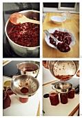Making cherry jam