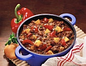Chili potato stew in pan
