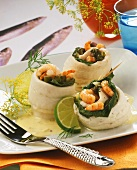 Plaice rolls filled with spinach and shrimps