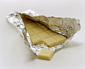 White chocolate bar in silver paper