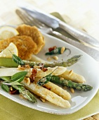 Green and white asparagus with browned butter