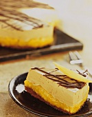 Coffee mousse cake with mango