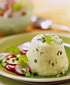 Cucumber and herb timbale with radish salad