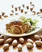Turkey roulades with pecan, ham and fig filling
