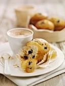 Fat-reduced blueberry muffin, broken open