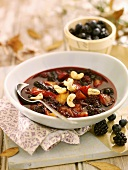 Berry soup with cashew kernels