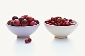 European and American cranberries in bowls