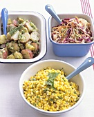 Party salads: potato, raw vegetable and sweetcorn