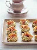 Strips of salmon on herb roll