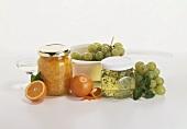 Grape jelly in a jam jar