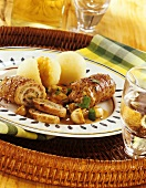 Pork roulade with mushroom stuffing and potato dumpling
