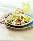 Salad leaves with fried chicken pieces and rhubarb
