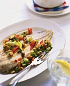 Sole with mixed vegetables