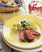 Beef fillet, cut up, with ribbon pasta