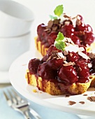 Marble cake with sour cherries and red wine icing