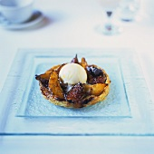 Pear and fig tart with honey ice cream
