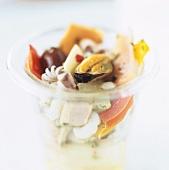 Seafood salad in a preserving jar