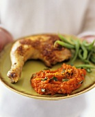 Chicken leg with green beans and carrot puree