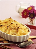 Sweet bread pudding with honey